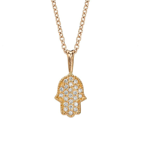 Pave Diamond Hamsa Necklace In Rose Gold - ModernTribe