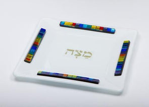 White Opaque Glass Matzah Tray by Daryl Cohen