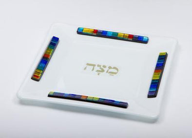 White Opaque Glass Matzah Tray by Daryl Cohen - ModernTribe