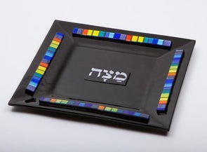 Black Glass Matzah Tray by Daryl Cohen
