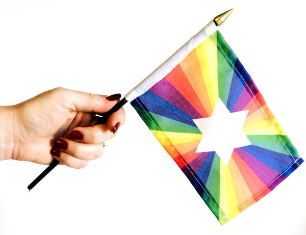 "Limited Edition Jewish Gay Pride Rainbow Flag 4"" x 6"" - ModernTribe"