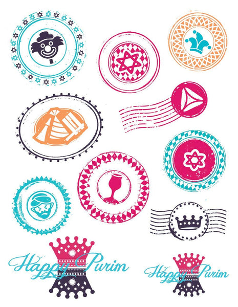 ModernTribe Sticker Set of 6 Purim Stickers - Wholesale - Set of 6