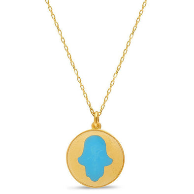 Gold and Blue Hamsa Rounded Necklace