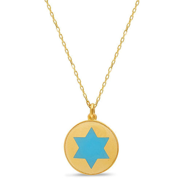 Gold and Blue Star of David Rounded Necklace