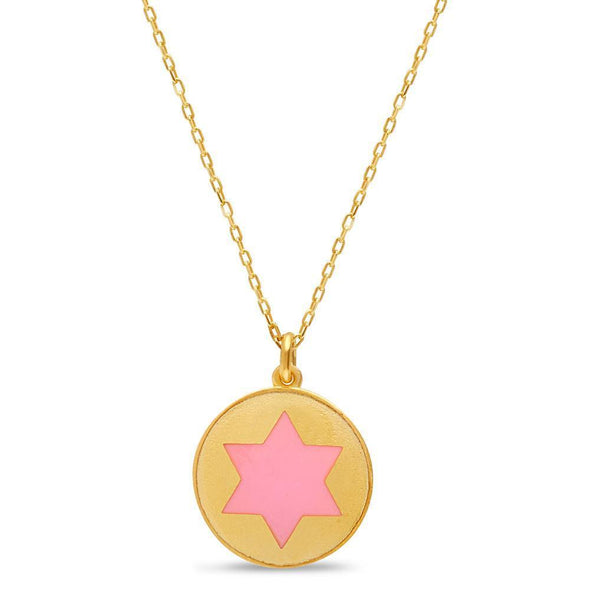 Gold and Pink Star of David Rounded Necklace