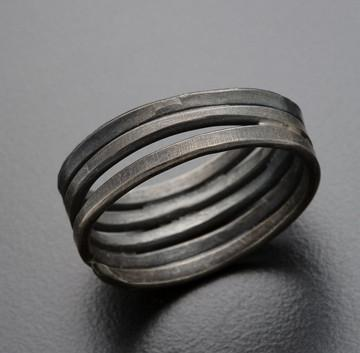 Uncommon Threads Rings Silver Organic Oxidized Sterling Stacked Ring