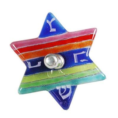 Simple Touch IL Dreidel Rainbow Fused Glass Star Dreidel