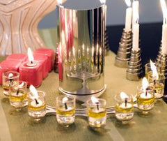 Oil Burning Reflective Menorah by Shahar Peleg - ModernTribe - 1