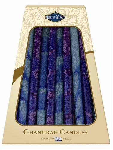 Safed Handcrafted Hanukkah Candles - Purple Premium