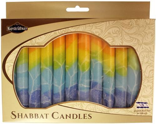 Israeli Hand Crafted Orange Fantasy Shabbat Candles | Set of 12