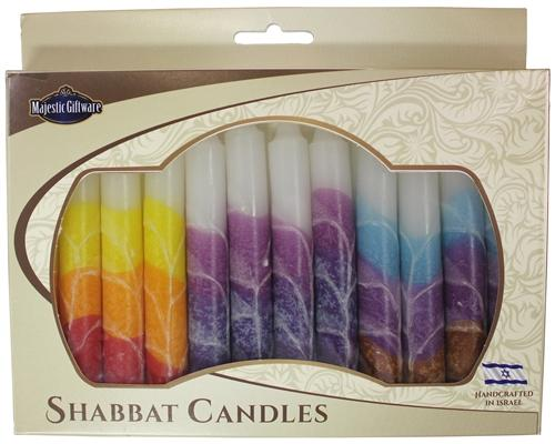Other Candles Default Israeli Hand-Crafted Multicolored Shabbat Candles | Set of 12