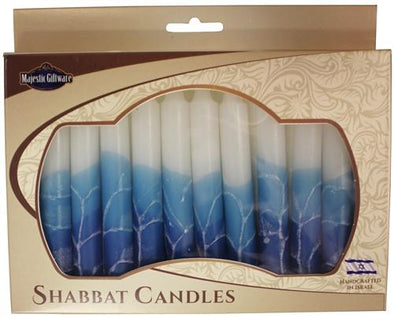 Israeli Hand Crafted White Turquoise Shabbat Candles | Set of 12