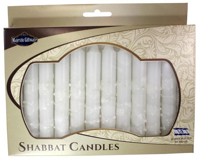 Israeli Hand Crafted Snow White Shabbat Candles | Set of 12
