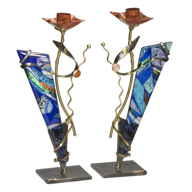 Metal and Glass Blue Shabbat Candlesticks by Gary Rosenthal - ModernTribe