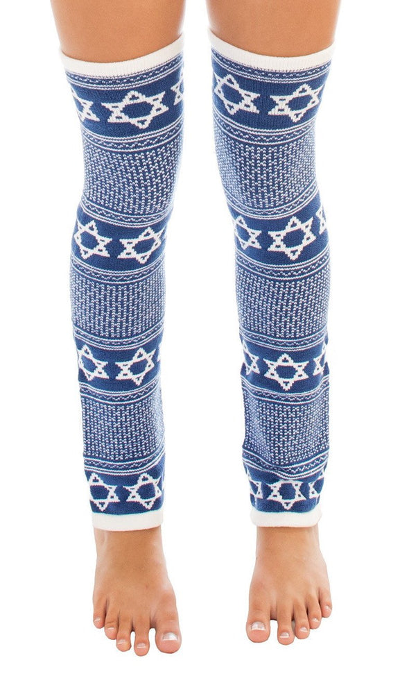 Star of David Royal Blue Leg Warmers