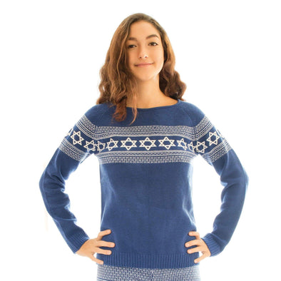 Knitty Kitty Sweaters Star of David Blue and White Sweater