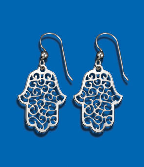 Silver Lace Hamsa Earrings