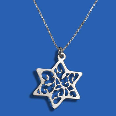 Silver Lace Star of David Necklace