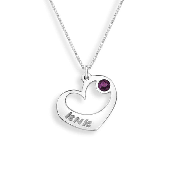 Ima (Mom) Heart Necklace – Amethyst Crystal