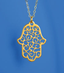 Gold Lace Hamsa Necklace