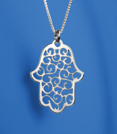 Silver Lace Hamsa Necklace