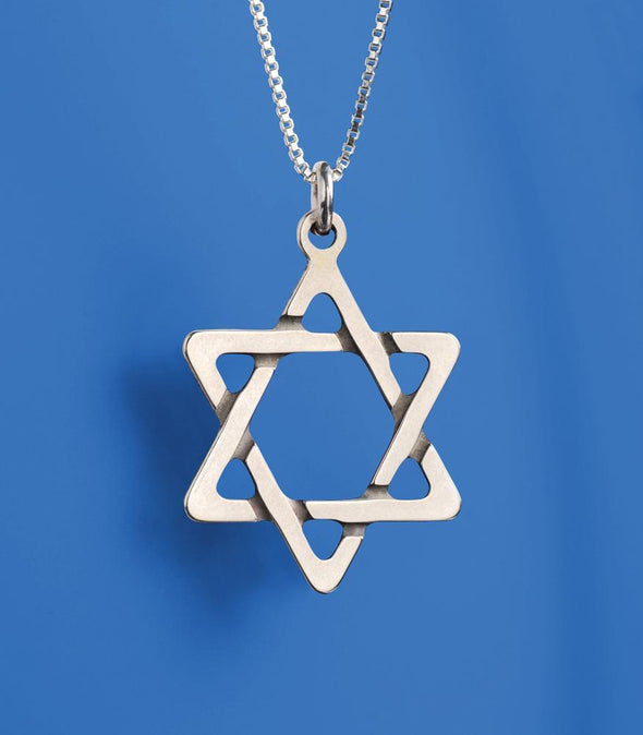 Sterling Silver Braided Star of David Necklace