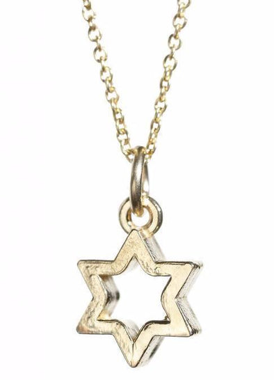Gold Star of David Outline Necklace