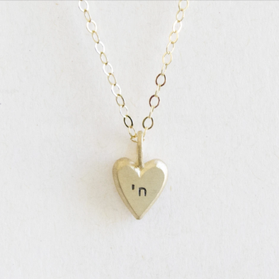 14k Gold Tiny Heart with Chai Necklace on Gold-Filled Chain by Emily Rosenfeld - ModernTribe