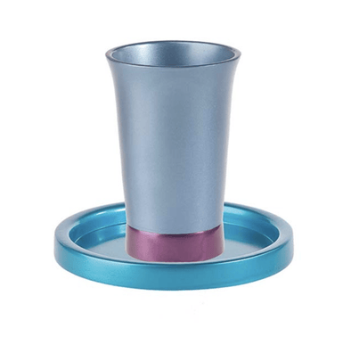 Anodized Aluminum Kiddush Cup and Dish by Yair Emanuel - Turquoise and Purple - ModernTribe
