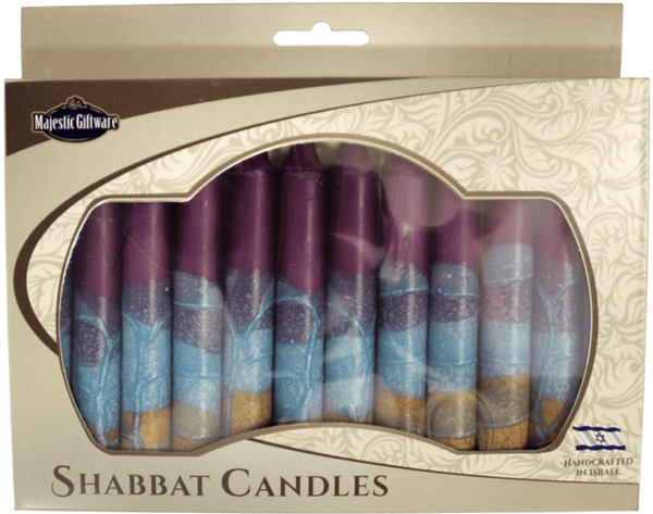 Israeli Hand Crafted Violet Shabbat Candles | Set of 12