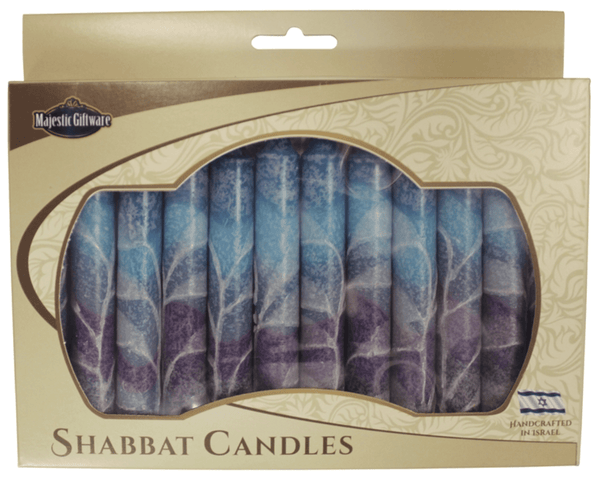 Israeli Hand Crafted Fantasy Blue Shabbat Candles | Set of 12