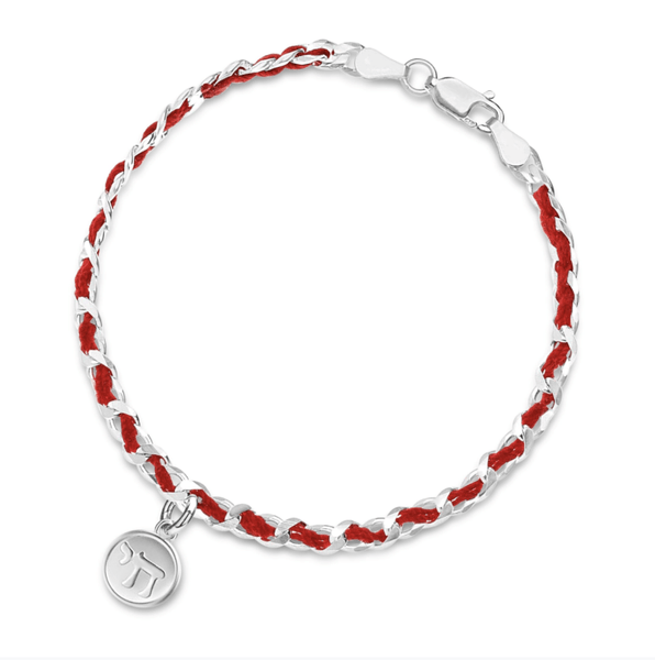 Red Cord Bendel Bracelet with Chai