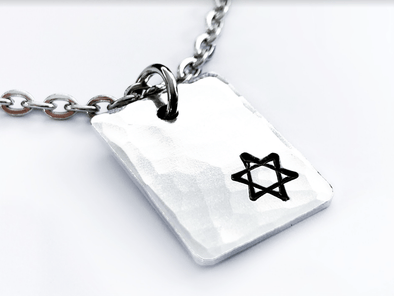 Small Star of David Hammered Rectangle Necklace - Aluminum