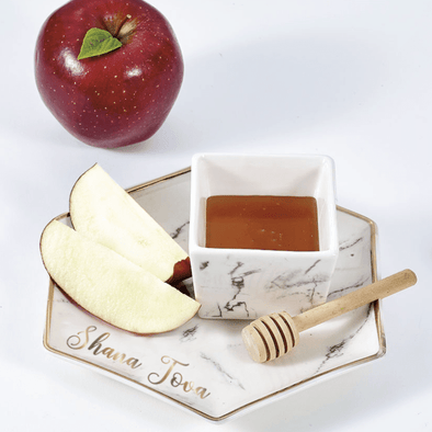 Hexagon Shaped Porcelain Apple and Honey Dish Set