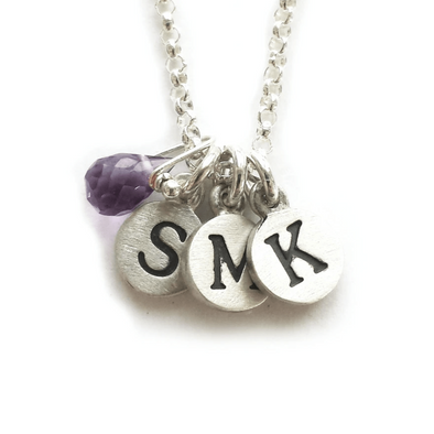Personalized Tiny Dot Necklace with Gemstones