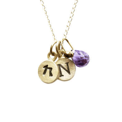 14k Gold Personalized Tiny Dot Necklace with Gemstones by Emily Rosenfeld