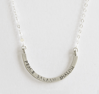 Peace, Salaam, Shalom Cup Half Full Necklace by Emily Rosenfeld