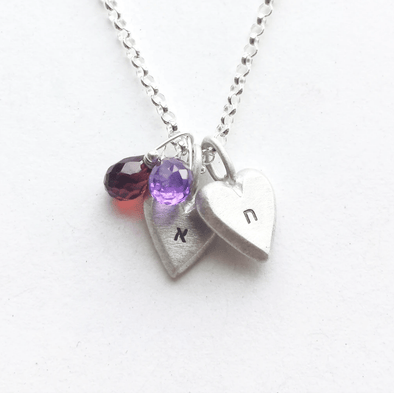 Personalized Tiny Heart Necklaces by Emily Rosenfeld In Hebrew