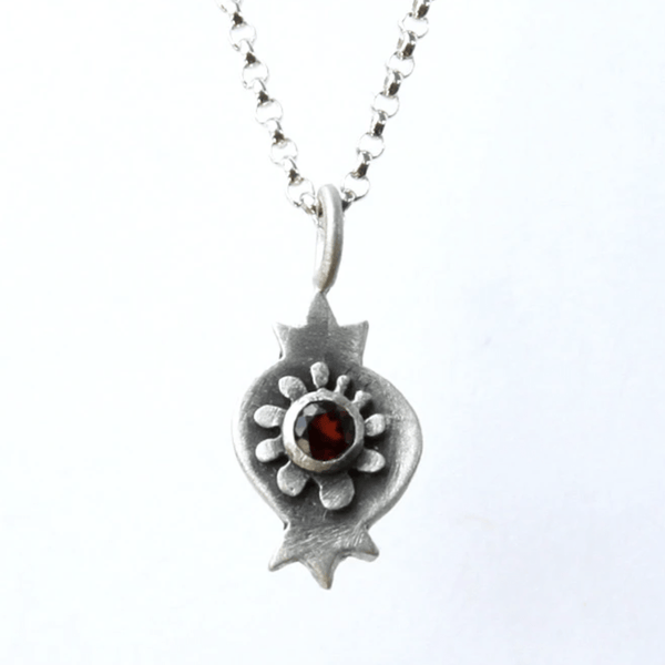 Botanical Pomegranate Necklace with Garnet by Emily Rosenfeld