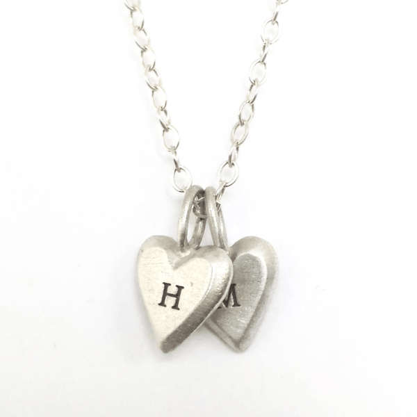 Emily Rosenfeld Necklaces Double - 2 / Silver Personalized Tiny Heart Necklaces by Emily Rosenfeld In English