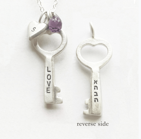 Emily Rosenfeld Necklaces Love Is The Key Ahava Necklace Personalized with Hebrew Initials