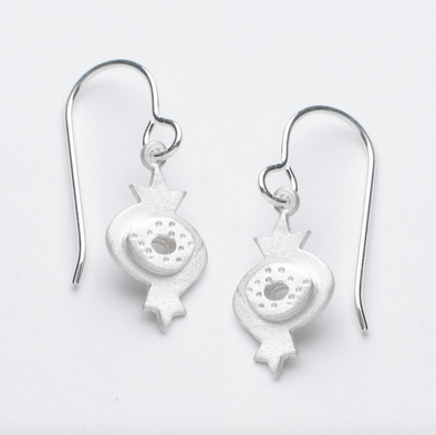 Emily Rosenfeld Earrings Silver Sterling Silver Pomegranate Earrings by Emily Rosenfeld