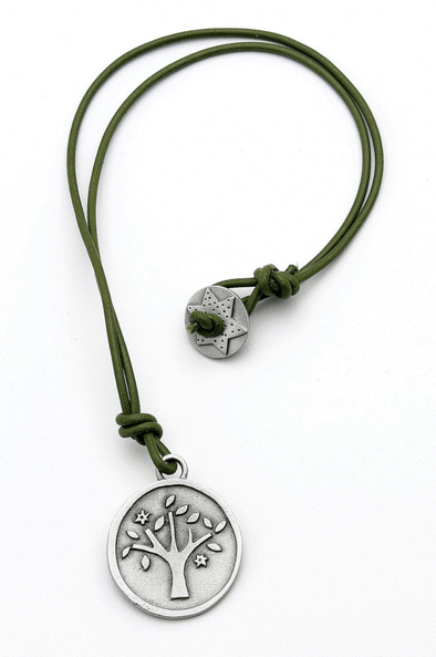 Green Leather Cord Tree of Life Necklace by Emily Rosenfeld