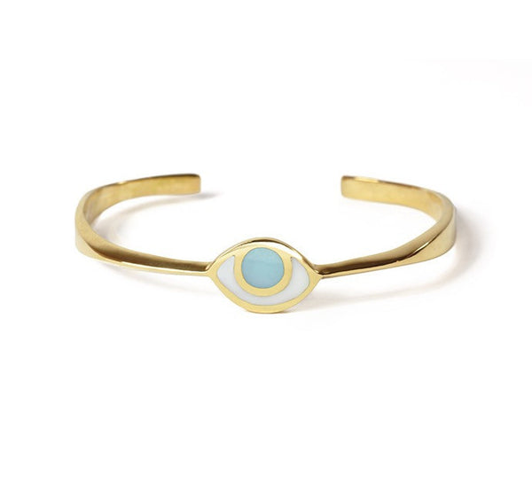 Marta Pia Bracelets Brass & Blue Third Eye Bracelet in Gold with Blue Quartz by Marta Pia