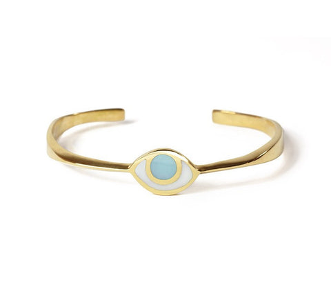 Third Eye Bracelet in Gold with Blue Quartz by Marta Pia by Marta Pia - ModernTribe