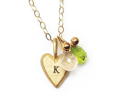 Personalized Gold Tiny Heart Necklace in Hebrew by Emily Rosenfeld - ModernTribe - 1
