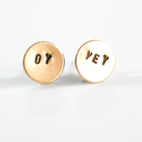 Oy Vey Earrings in Brass