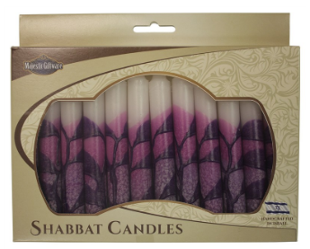 Tree Style Purple Shabbat Candles | Set of 12