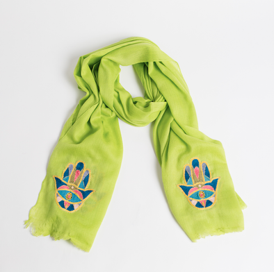 Hamsa Cashmere Scarf - Lime Green