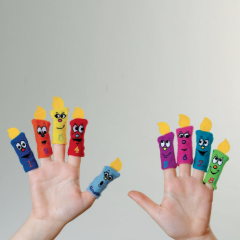 Hanukkah Candle Finger Puppets - Set of 9